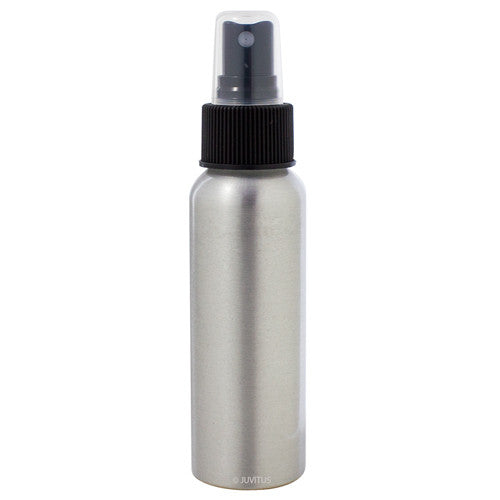 Metal Aluminum Bottle in Silver with Black Fine Mist Spray - 2.7 oz / 80 ml