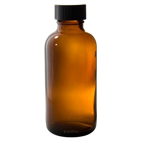 Amber Glass Boston Round Bottle with Black Phenolic Cap - 2 oz / 60 ml