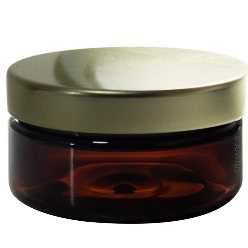 Amber PET (BPA Free) Plastic Jar with Gold Metal Lid - 2 oz (6 Pack)