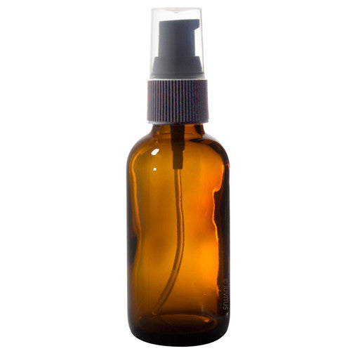 Glass Boston Round Bottle in Amber with Black Treatment Pump - 2 oz / 60 ml Travel Bag