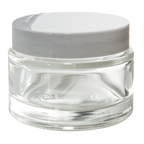 Glass Balm Jar in Clear with White Foam Lined Lid - 2 oz / 60 ml - JUVITUS