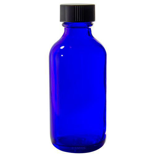 Cobalt Blue Glass Boston Round Bottle with Black Phenolic Cone Lined Cap - 2 oz +Labels