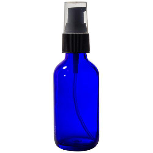 Cobalt Blue Glass Boston Round Treatment Pump Bottle with Black Top - 2 oz / 60 ml Travel Bag