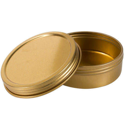 Gold Metal Steel Tin Flat Container with Tight Sealed Twist Screwtop Cover Lid - 2 oz + Labels