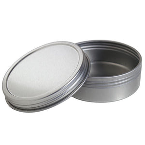 Metal Steel Tin Flat Container with Tight Sealed Twist Screwtop Cover - 2 oz