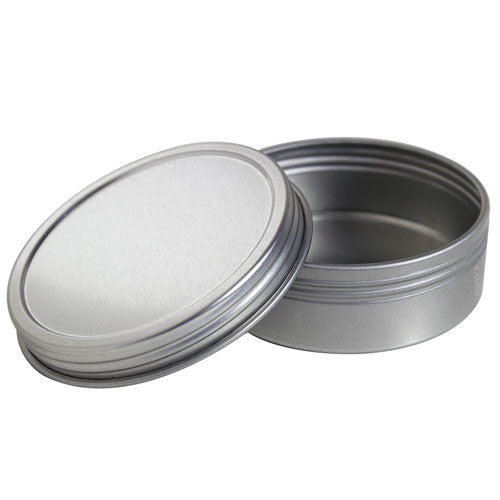 Metal Steel Tin Flat Container with Tight Sealed Twist Screwtop Cover - 2 oz + Labels