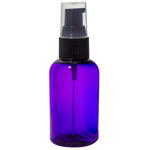 Plastic Boston Round Bottle in Purple with Black Treatment Pump - 2 oz / 60 ml