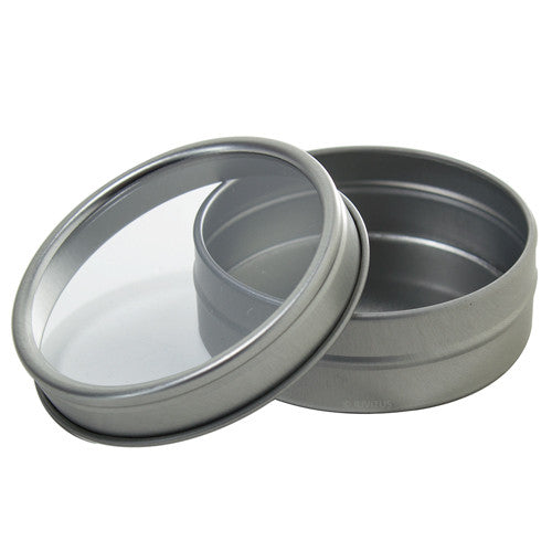 Silver Metal Tin Containers with Tight Sealed Clear Lids - 2 oz