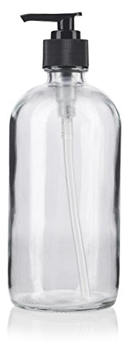 Clear Glass Boston Round Lotion Bottle with Black Pump - 8 oz / 250 ml