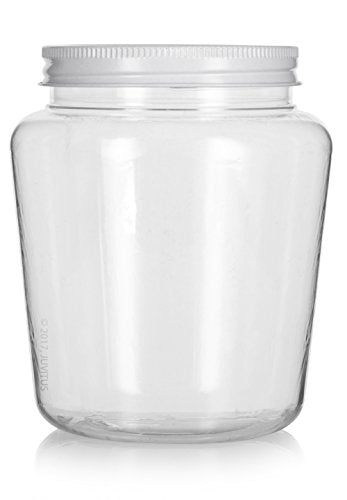 Plastic Tapered Jar in Clear with White Metal Plastisol Lid - 32 oz / 950 ml