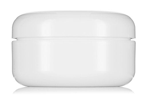 Plastic Low Profile Double Wall Round Jar in White with White Dome Foam Lined Lid - 4 oz / 120 ml