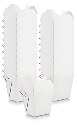 Large 1 Quart / 32 oz White Asian Chinese Food Paper Take-Out Containers with Wire Handle (20 pack) + Labels