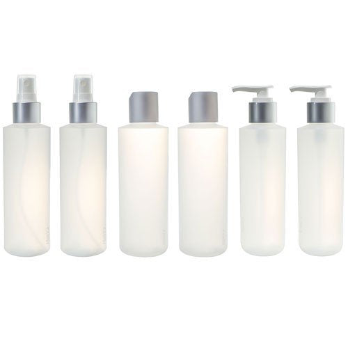 6 oz Clear Natural Refillable Plastic Squeeze Bottle with Silver Top Set (6 pack) - 2 each - Spray Bottle, Disc Cap Bottle & Pump Bottle