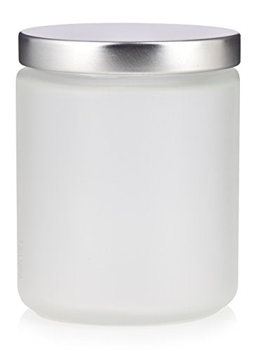 Glass Jar in Frosted Clear with Silver Metal Foam Lined Lid - 8 oz / 240 ml - JUVITUS