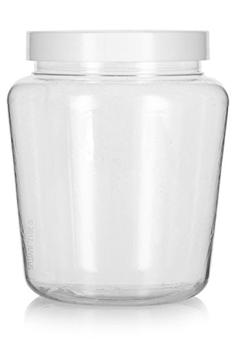 Plastic Tapered Jar in Clear with White Foam Lined Lid - 32 oz / 950 ml