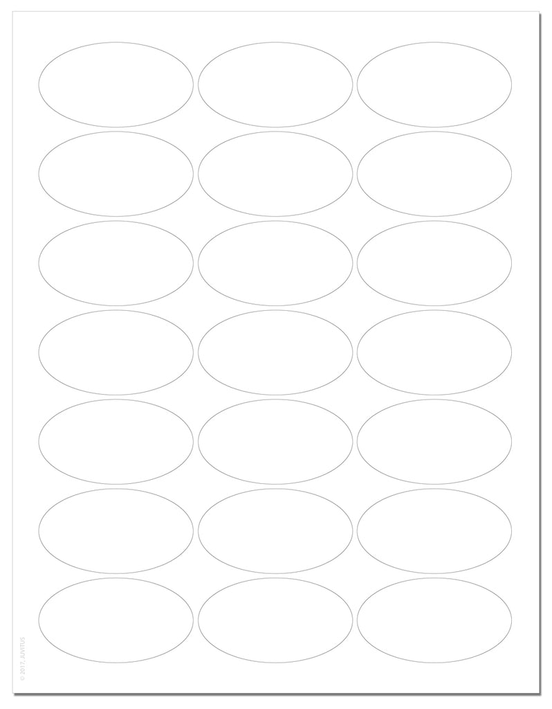 "Waterproof White Matte 2.5"" x 1.375"" Inch Oval Labels for Laser Printer with Template and Printing Instructions, 5 Sheets, 105 Labels (JV25)"