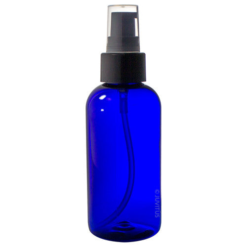 Plastic Boston Round Bottle in Cobalt Blue with Black Treatment Pump - 4 oz / 120 ml