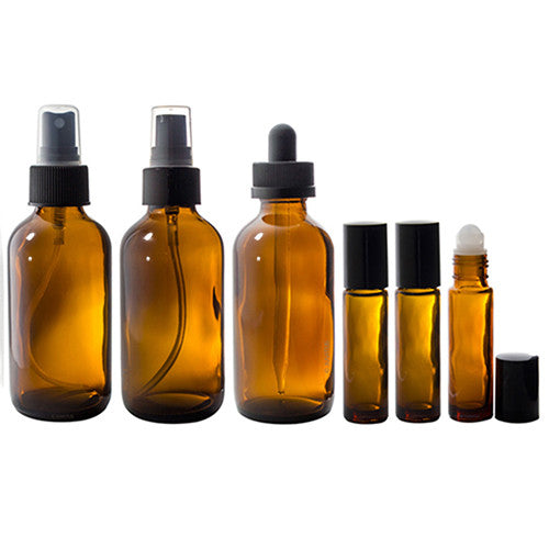 Amber Glass Bottle 7 piece Starter Kit Set - 4 oz for DIY, Essential Oils, Aromatherapy, Travel and Home
