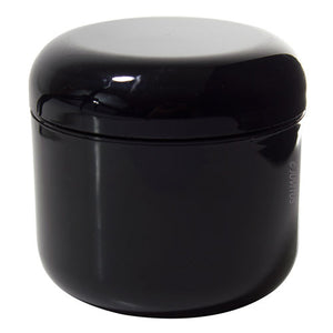 Plastic Double Wall Jar in Black with Black Dome Foam Lined Lid - 4 oz / 120 ml