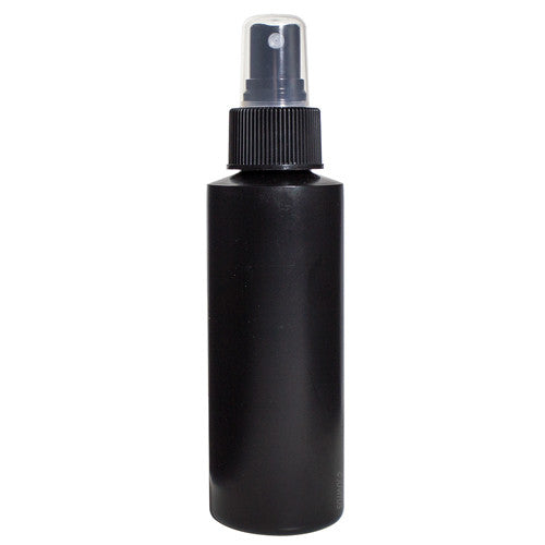 Black Plastic Cylinder Bottle with Black Fine Mist Spray - 4 oz / 120 ml