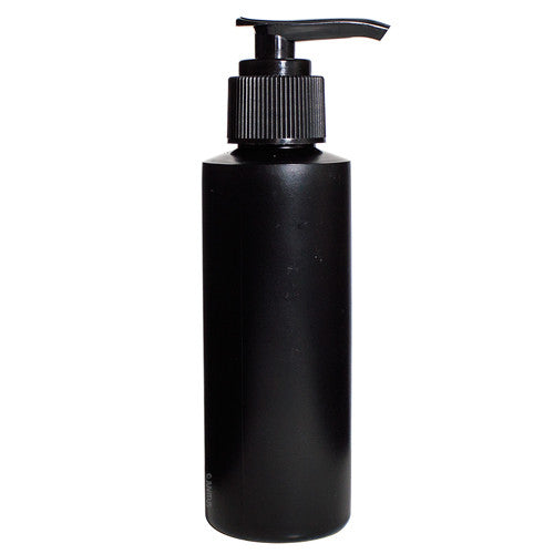 Plastic Cylinder Bottle in Black with Black Lotion Pump - 4 oz / 120 ml