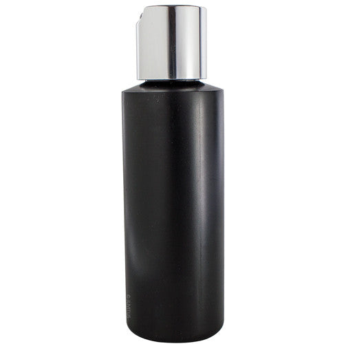 Black Plastic Cylinder Bottle with Silver Smooth Disc Cap - 4 oz / 120 ml
