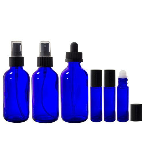 Cobalt Blue Glass Bottle 7-piece Starter Kit Set - 4 oz Perfect for DIY, Essential Oils, Aromatherapy, Travel and Home.