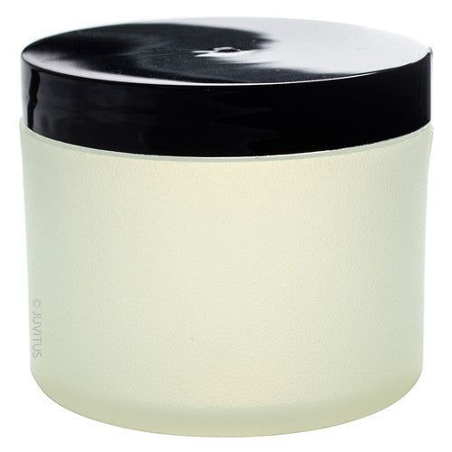 Frosted Clear Plastic Thick Wall (BPA Free) Jar with Black Smooth Lid - 4 oz