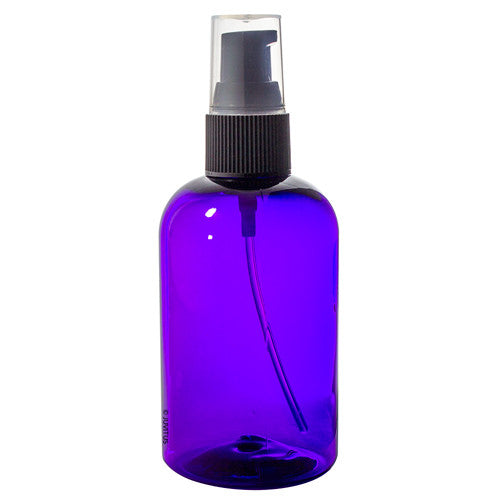 Plastic Boston Round Bottle in Purple with Black Treatment Pump - 4 oz / 120 ml