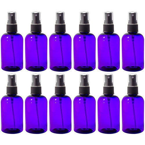 Purple Boston Round PET Bottles (BPA Free) with Black Fine Mist Sprayer - 4 oz + Labels