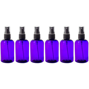 Plastic Boston Round Bottle in Purple with Black Fine Mist Spray - 4 oz / 120 ml