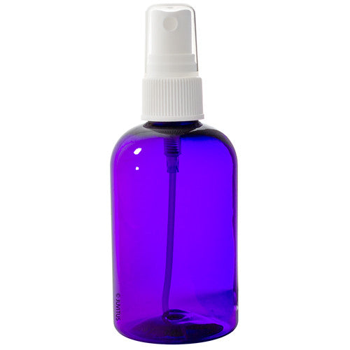 Plastic Boston Round Bottle in Purple with White Fine Mist Spray - 4 oz / 120 ml