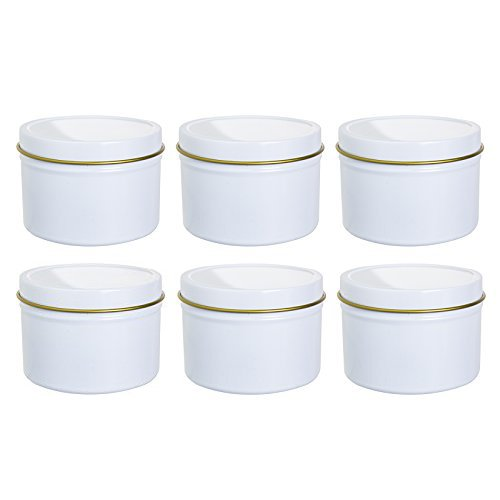 4 oz White Metal Steel Tin Container with Tight Sealed Slip Cover (6 Pack)