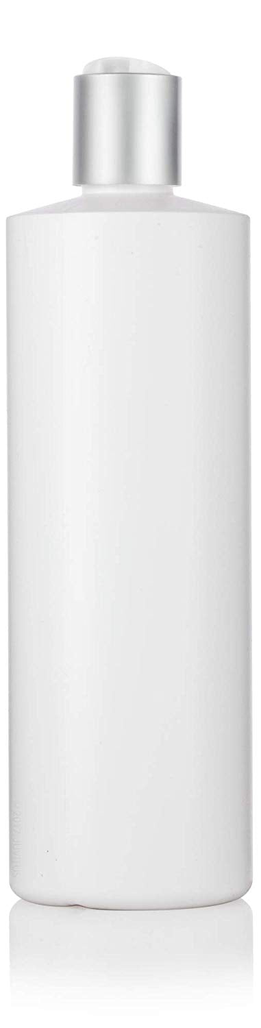 White Plastic Squeeze Cylinder Bottle with Silver Disc Cap - 16 oz / 480 ml