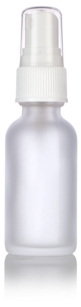 1 oz Frosted Clear Glass Boston Round White Fine Mist Spray Bottle + Funnel and Labels for essential oils, aromatherapy, food grade, bpa free