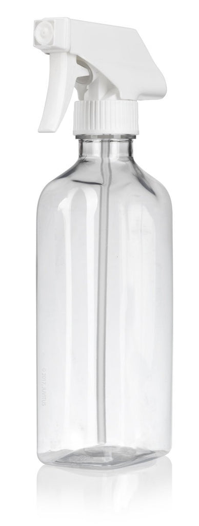 16 oz / 500 ml Clear PET (BPA Free) Plastic Oblong Flask Style Refillable Bottle with White Trigger Sprayer (6 pack) + Labels