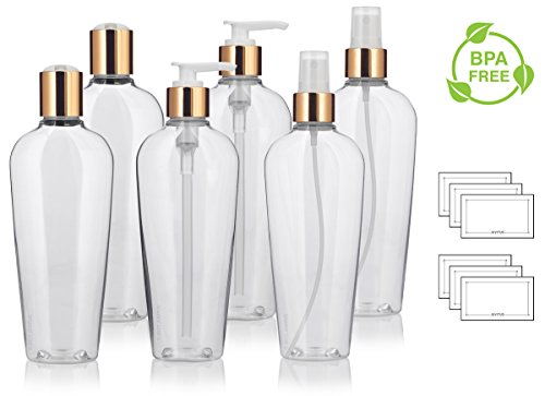 8 oz Clear PET (BPA Free) Plastic Tapered Oval Refillable Luxury Bottle Set with Gold Tops with 2 each: Fine Mist Sprayers, Lotion Pumps, and Disc Caps (6 pack) + Labels