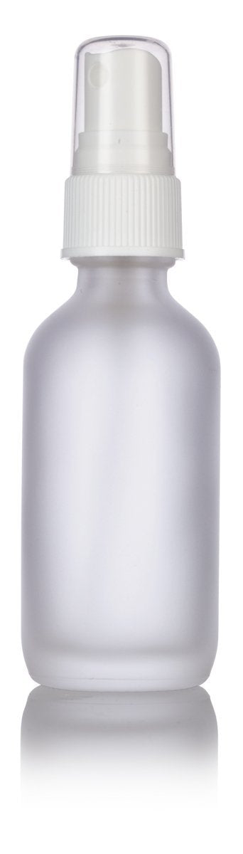 Glass Boston Round Bottle In Frosted Clear With White Fine Mist Spray 2 Oz 60 Ml