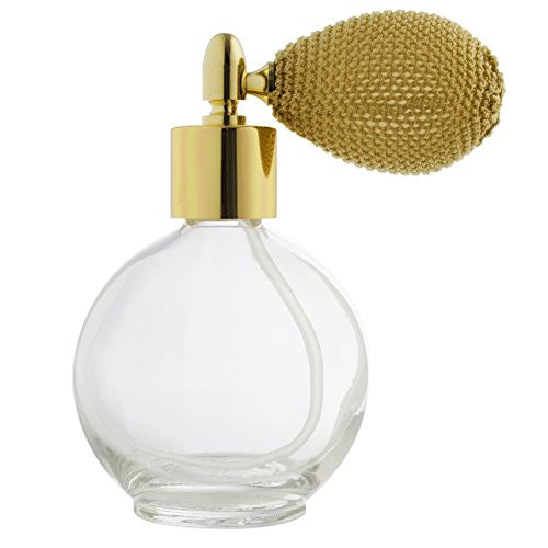 Perfume Empty Refillable Glass Round Bottle with Antique Gold Bulb Sprayer 2.65 oz with Funnel and Pipettes