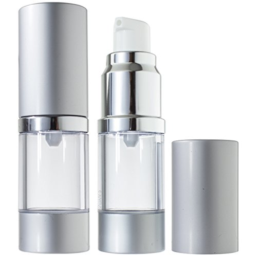 Refillable Set Airless Pump and Spray Bottle in Silver Matte - .34 oz / 10 ml
