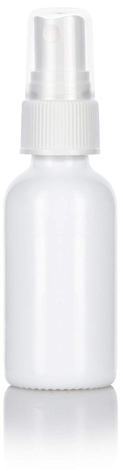 Opal White Glass Boston Round Fine Mist Spray Bottle with White Sprayer - 1 oz / 30 ml