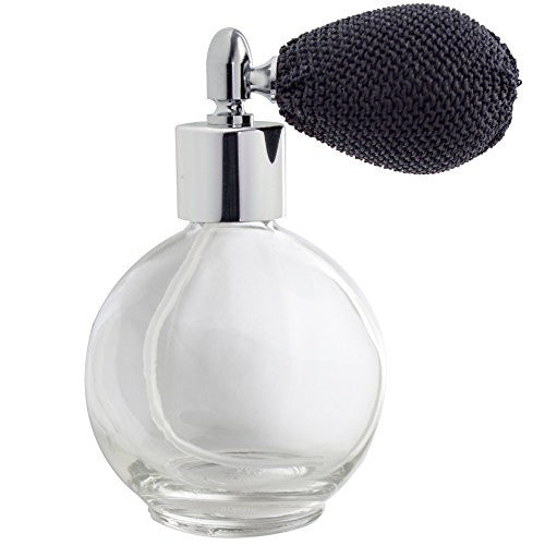 Clear Glass Refillable Round Perfume Bottle with Black Bulb Atomizer Sprayer - 2.65 oz / 78 ml Funnel + Pipette