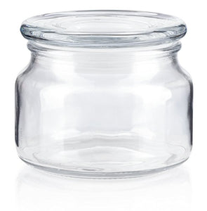 Glass Low Profile Wide Mouth Candle Jar in Clear with Glass Lid - 8 oz / 240 ml
