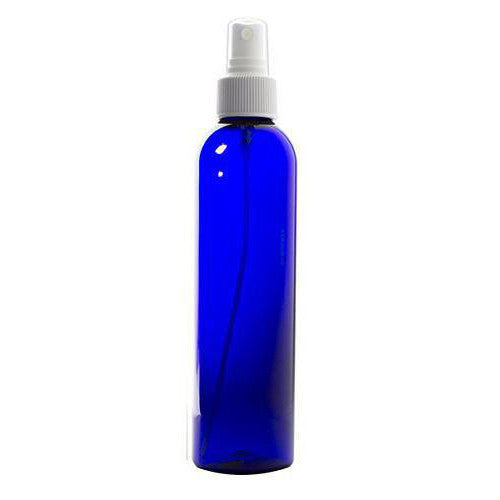 Cobalt Blue Slim Plastic PET Refillable Bottles with White Fine Mist Sprayers - 8 oz (6 Pack) + Labels