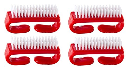 Nail Brush with Durable Plastic Handle - Red, 4 Pack