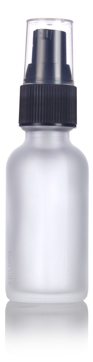 Frosted Clear Glass Boston Round Treatment Pump Bottle with Black Top - 1 oz / 30 ml