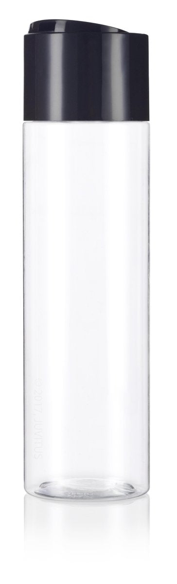 Clear Plastic Professional Cylinder Bottle with Wide Black Disc Cap - 8 oz / 250 ml - JUVITUS