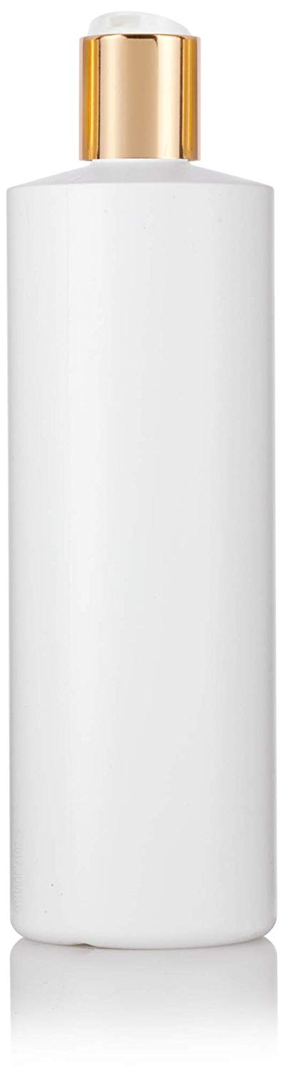 White Plastic Squeeze Cylinder Bottle with Gold Disc Cap - 16 oz / 480 ml
