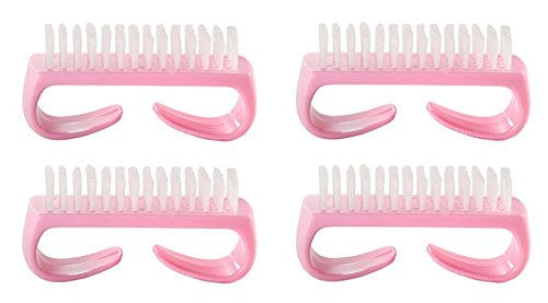 Nail Brush with Durable Plastic Handle - Pink, 4 Pack