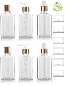 3.4 oz / 100 ml Clear PET (BPA Free) Plastic Oblong Flask Style Refillable Bottle Set with Gold Tops ; Includes 2 of each Fine Mist Sprayers, Disc Caps, and Lotion Pumps